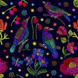 民间艺术启发的创造性的花卉刺绣 皇族释放例证