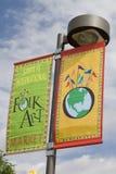 民间艺术市场年度活动在Santa Fe, NM美国 免版税库存照片