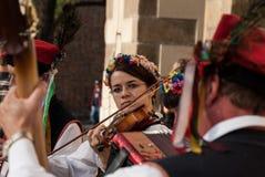 民间音乐家在克拉科夫 免版税图库摄影