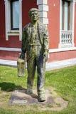 移民雕象在Cangas de Onis,阿斯图里亚斯 库存照片