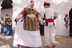 民间传说舞蹈典型的伊维萨岛西班牙 免版税库存照片