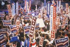 1992年民主党全国代表大会的状态代表在麦迪逊广场加登 库存图片