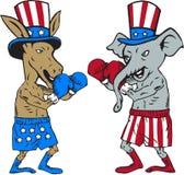民主党驴拳击手和共和党大象吉祥人动画片 向量例证