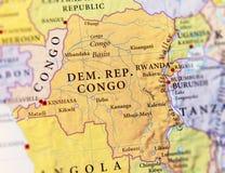 民主共和国刚果地理地图与重要citie的 免版税库存图片