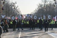 民主示范防御的波兰委员会在W的 免版税库存图片