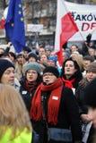 民主KOD和民主的防御的委员会的示范自由媒介/wolne媒介的对PIS g 免版税图库摄影