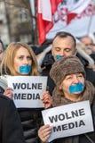 民主KOD的防御的委员会的示范自由媒介/wolne媒介的 图库摄影