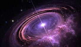气体、Supermassive星与X-射线和电磁辐射一张轨道的累积盘围拢的类星体  库存例证