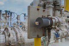 气体探测器poin类型在压气机附近安装查出所有漏安全的气体 库存照片