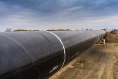 气体管道Trans亚得里亚海的管道的建筑-轻拍在没有 库存照片