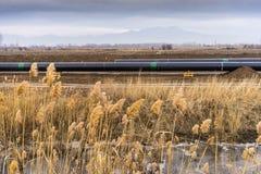 气体管道Trans亚得里亚海的管道的建筑-轻拍在没有 免版税库存图片