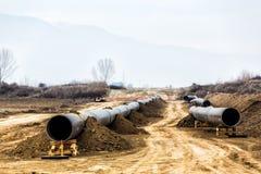气体管道Trans亚得里亚海的管道-轻拍的建筑 库存照片