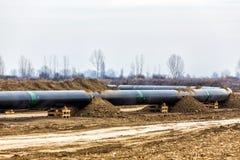 气体管道Trans亚得里亚海的管道-轻拍的建筑 免版税图库摄影