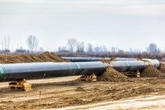 气体管道Trans亚得里亚海的管道-轻拍的建筑 库存图片