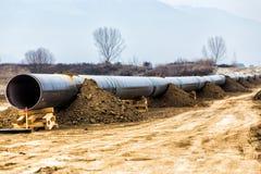 气体管道Trans亚得里亚海的管道-轻拍的建筑 免版税库存照片