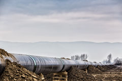 气体管道Trans亚得里亚海的管道-轻拍的建筑 图库摄影