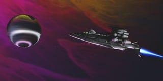 气体行星和太空飞船 图库摄影