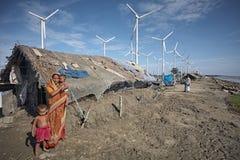 气候变化的作用对孟加拉国海岸 免版税库存图片