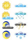 气候图标被设置的天气 免版税库存照片
