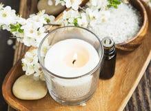 气味蜡烛、花和精华温泉和芳香疗法设置 库存照片