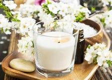 气味蜡烛、花和精华温泉和芳香疗法设置 免版税库存图片
