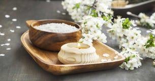 气味蜡烛、花和精华温泉和芳香疗法设置 免版税图库摄影