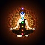 气氛和chakra,凝思 向量例证