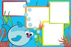 气泡钓鱼孩子剪贴薄 图库摄影