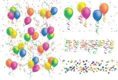 气球五颜六色的五彩纸屑丝带 库存例证