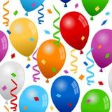 气球和五彩纸屑无缝的样式 库存照片