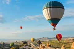 气球在卡帕多细亚,土耳其 库存照片