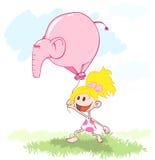 气球大象webgirl 图库摄影
