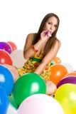 气球女孩当事人 免版税库存照片