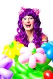 气球小丑五颜六色的女性花 库存图片