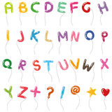 气球手写字母表样式  免版税库存照片