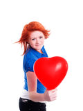 气球拿着少年华伦泰的女孩重点 库存图片