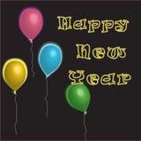 气球新年快乐 免版税库存照片
