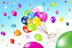 气球束起五颜六色的向量 免版税库存图片