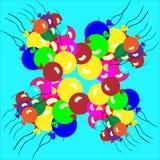 气球混和梯度多彩多姿梯度的滤网没有使用的简单 群从外面 免版税库存照片