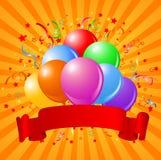 气球生日设计 库存例证
