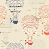 气球的减速火箭的无缝的旅行样式 也corel凹道例证向量 免版税库存图片