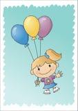 气球被画的女孩现有量 库存图片