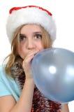 气球逗人喜爱的女孩xmas 图库摄影