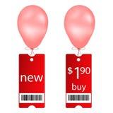 气球采购飞行新的标签 免版税库存图片