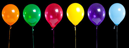 气球黑色五颜六色的当事人 免版税库存图片