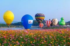 气球,在天空,气球节日, Singhapark国际气球节日2017年,清莱,泰国的气球 库存照片