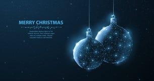 气球 在蓝色背景的抽象例证两装饰圣诞节闪烁球与雪花,雪,亮光星 库存图片
