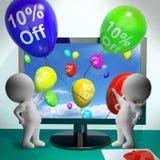 气球从显示百分之十的销售折扣计算机 免版税库存图片