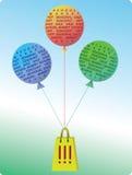 气球 用在白色背景的戴西装饰的季节性sale.green标签 库存图片