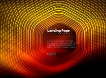 氖发光的techno六角形形状线,高科技未来派抽象背景,登陆的页模板 库存例证